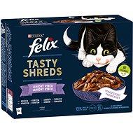 Felix Tasty Shreds s hovězím, kuřetem, lososem, tuňákem ve šťávě 12 x 80 g - Kapsička pro kočky