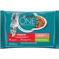 Kapsička pro kočky Purina ONE Sterilcat minifiletky s krůtou a zelenými fazolkami, s lososem a mrkví 4×85 g - Kapsička pro kočky
