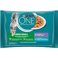 Purina ONE Indoor minifiletky s tuňákem a zelenými fazolkami, s telecím a mrkví 4×85 g - Kapsička pro kočky