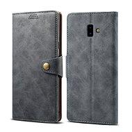 Lenuo Leather pro Samsung Galaxy J6+ šedá - Pouzdro na mobilní telefon