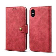 Lenuo Leather pro iPhone X/Xs, červená - Pouzdro na mobilní telefon