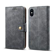 Lenuo Leather pro iPhone X/Xs, šedá - Pouzdro na mobilní telefon
