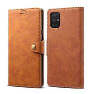 Pouzdro na mobil Lenuo Leather pro Samsung Galaxy A71, hnědá