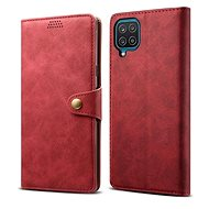 Lenuo Leather for Samsung Galaxy A12, Red