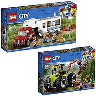 LEGO City 60182 Pick-up a karavan + LEGO City 60181 Traktor do lesa - Herní set