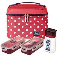 """Lock&Lock Taška tečkovaná """"Lunch boxes"""" - červená - sada 3ks"""