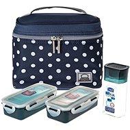 """Lock&Lock Taška tečkovaná """"Lunch boxes"""" - modrá - sada 3ks - Svačinový box"""