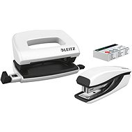 Leitz WOW Stapler + Punch, Metallic White - Set