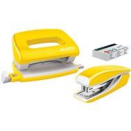 Leitz WOW sešívačka + děrovačka, metalická žlutá - Set