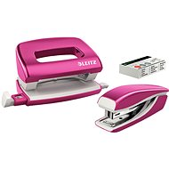 Leitz WOW Stapler + Punch, Metallic Pink - Set