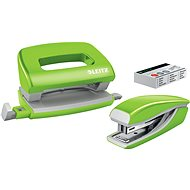 Leitz WOW Stapler + Punch, Metallic Green - Set