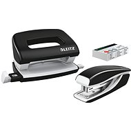 Leitz WOW Stapler + Punch, Metallic Black - Set