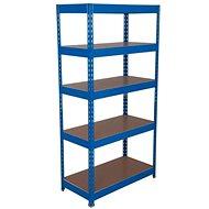 MANUTAN Basic, 176 x 900 x 45 cm, 175 kg/police, 5 dřevotřískových polic, modrý - Regál