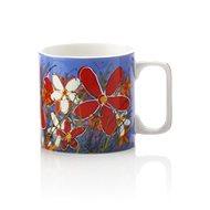 Maxwell & Williams Hrnek 350ml Art Love Life, modrý, červená květina - Hrnek