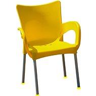 MEGAPLAST SMART plast, AL nohy, žlutá - Zahradní židle