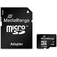 MEDIARANGE microSDHC 4GB Class 10 + SD adaptér - Paměťová karta
