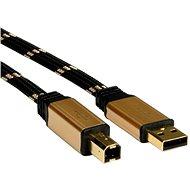 ROLINE Gold USB 2.0 A-B, 3m - černo/zlatý - Datový kabel