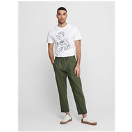 ONLY & SONS Dark Green Linen Trousers Leo - Trousers