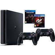 PlayStation 4 1TB Slim + Gran Turismo Sport + Uncharted Lost Legacy + extra DualShock 4 - Herní konzole