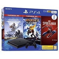 PlayStation 4 Slim 500GB + 3 hry (Spiderman, Horizon Zero Dawn, Ratchet and Clank) - Herní konzole