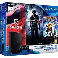 Playstation 4 1TB Slim + 3 hry ( Uncharted 4, Driveclub, Ratchet and Clank) - Herní konzole