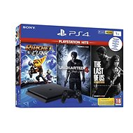 PlayStation 4 1TB Slim + 3 hry (The Last Of Us, Uncharted 4, Ratchet and Clank) - Herní konzole