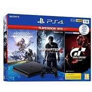 PlayStation 4 Slim 1TB + 3 hry (GT Sport, Uncharted 4, Horizon Zero Dawn) - Herní konzole