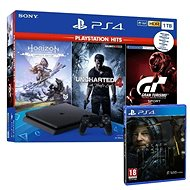 PlayStation 4 Slim 1TB + 4 hry (GT Sport, Uncharted 4, Horizon Zero Dawn) + Death Stranding - Herní konzole