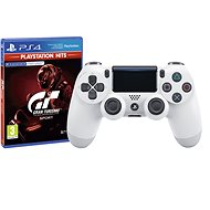 Sony PS4 Dualshock 4 V2 - Glacier White + Gran Turismo Sport