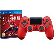 Sony PS4 Dualshock 4 V2 - Magma Red + Marvels Spider-Man