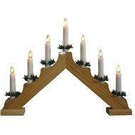svícen vánoční el. 7 svíček, jehlan, dřev.přírodní, do zásuvky