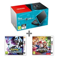 Nintendo NEW 2DS XL Black & Turquoise + Pokémon Ultra Moon + Mario Sports Superstars - Herní konzole