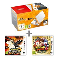 Nintendo NEW 2DS XL White & Orange + Pokémon Ultra Sun + YO-KAI WATCH 2 - Herní konzole