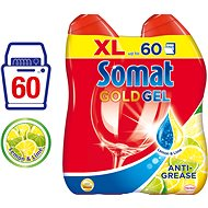 SOMAT Gold Gel AntiGrease 2 x 600 ml Lemon (60 dávek) - Gel do myčky