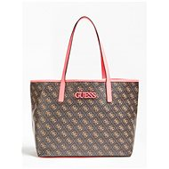 GUESS Vikky Shopper 4g Logo All Over - Brown/Neon Pink - Handbag