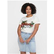 Bílé tričko s příměsí lnu ONLY CARMAKOMA Jungle - Dámské tričko