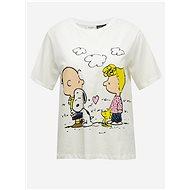 Bílé volné tričko s potiskem Jacqueline de Yong Peanut M - Dámské tričko