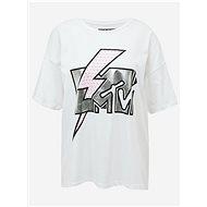 Bílé volné tričko s potiskem Noisy May Isa MTV - Dámské tričko