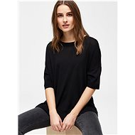 Black Sweater T-Shirt With Side Slits Selected Femme Wille - Women's T-Shirt