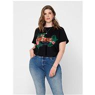 Černé tričko s příměsí lnu ONLY CARMAKOMA Jungle - Dámské tričko