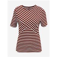 Hnědé pruhované tričko ONLY Laila - Dámské tričko