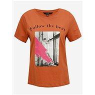 Hnědé tričko s potiskem VERO MODA - Dámské tričko