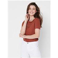Hnědé tričko s výšivkou ONLY Theresa - Dámské tričko