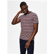 Červeno-modré pruhované tričko Selected Homme Carl S - Pánské tričko