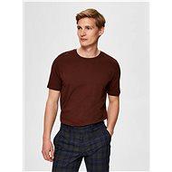 Hnědé basic tričko Selected Homme - Pánské tričko