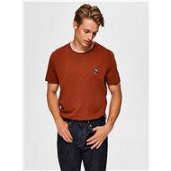 Hnědé tričko Selected Homme Astor - Pánské tričko