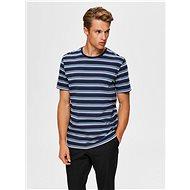 Modré pruhované tričko Selected Homme Sonni - Pánské tričko