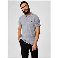 Šedé žíhané basic polo tričko s výšivkou Selected Homme Haro - Pánské tričko