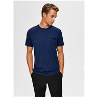 Dark Blue T-Shirt Selected Homme New Poe - Men's Shirt