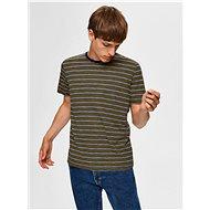 Tmavě zelené pruhované tričko Selected Homme - Pánské tričko